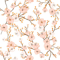 FototapetaSeamless pattern with hand drawn decorative cherry blossom flowers,