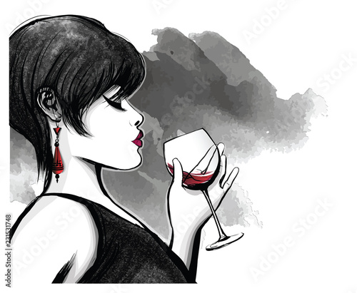 Deurstickers Art Studio woman drinking red wine