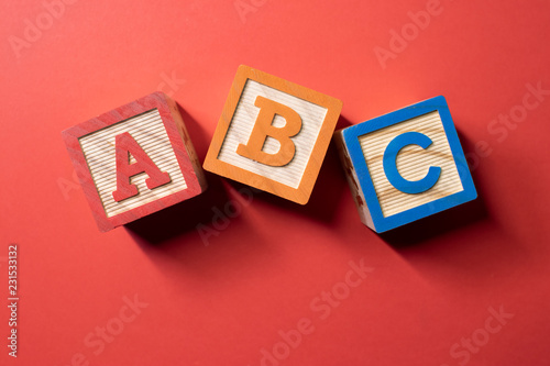 A, B and C wooden blocks Canvas Print