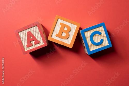 A, B and C wooden blocks Wallpaper Mural