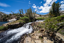 Rushing Creek And Small Waterfall Along The 20 Lakes Basin Loop Hiking In The Eastern Sierra Mountains In California