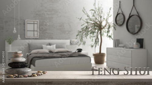 Wooden vintage table shelf with pebble balance and 3d letters making the word fe Slika na platnu