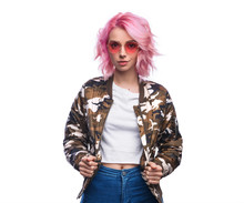 Fashionable Modern Woman In Camouflage Jacket