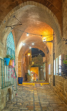 Narrow Street In The Old Town Of Jaffa, Israel