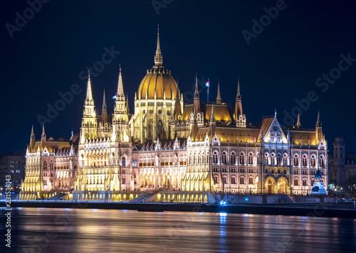 Fotografie, Obraz  Hungarian Parliament Building at night, Budapest, Hungary