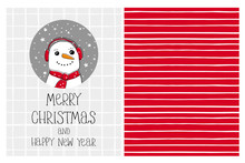 Cute Hand Drawn Christmas Vector Card And Pattern. Funny Snowman In A Gray Circle. White Grid On A Light Gray Background. White Tiny Stripes On A Red Background. Irregular Pattern. Infantile Design.