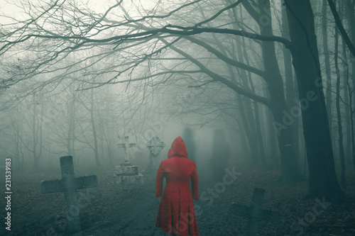 011f125dcb9 ghost woman in red dress on dark horror forest cemetery - Buy this ...