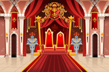 Door of the castle and windows, ancient rich medieval artwork with royal armor of knight guard. Image with throne of the king on the palace. Flags of fantasy fairy queen. Vector illustration.