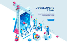 Screen Interface Of Mobile Building. Device Display Contents For Layout Creation On Conceptual Tablet. Top Software Develop Program Development And Programming. Developer Template, Isometric Vector.