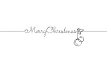 Merry Christmas Single Continuous Line Art. Holiday Greeting Card Decoration Christmas Tree Ball Lettering Silhouette Concept Design One Sketch Outline Drawing Vector Illustration