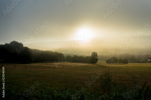 Foggy landscape in Galicia Spain