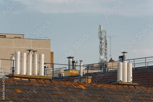 Foto op Aluminium Historisch geb. Roofs and chimneys