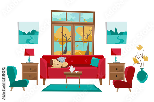Bon Living Room In Yellow Red Turquoise Colors. Red Sofa With Table,  Nightstand, Paintings