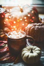 Mug With Hot Chocolate And Marshmallows On Table With Pumpkins And Autumn Leaves At Window. Autumn Still Life With Cozy Bokeh Lighting . Instagram Style