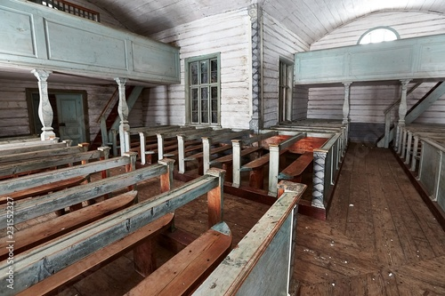 Spoed Foto op Canvas Historisch geb. Old wooden church interior