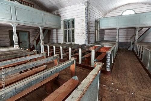 Foto op Aluminium Historisch geb. Old wooden church interior