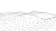 Abstract Technology Background. Artificial Intelligence. Futuristic Hexagon Perspective Background. Big Data Visualization. 3D Rendering.