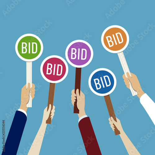 Hands holding auction paddle with bid Wallpaper Mural