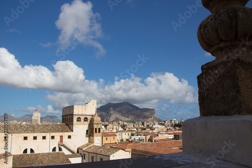 Tuinposter Palermo view of palermo italy with clouds and blue sky