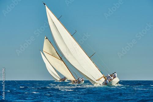 Sailing yacht race. Yachting. Sailing. Regatta. Classic sail yachts