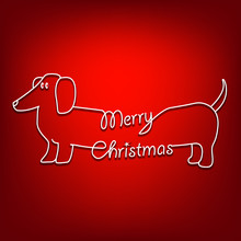 Merry Christmas And Dog Are Un...