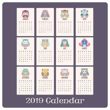 Colorful Owl Calendar For 2019