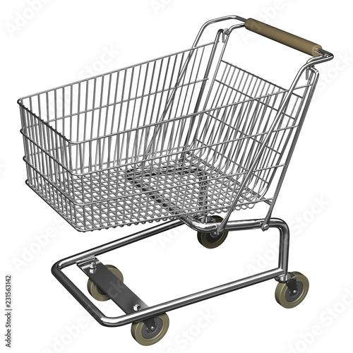 Fotografía  3D illustration of Shopping cart, isolated on white background