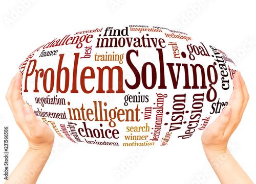 Fotografía  Problem Solving word cloud hand sphere concept
