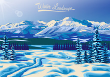 Winter Landscape With Fir Trees, Lake, Forests And Mountains In The Background. Handmade Drawing Vector Illustration. All Objects Are Grouped And Divided Into Layers. Flat Design.