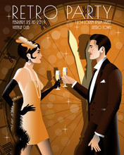 Couple At A Party In The Style Of The Early 20th Century. Retro Party Invitation Card. Handmade Drawing Vector Illustration. Art Deco Style.