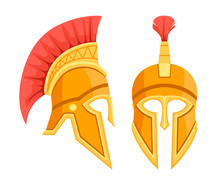 Bronze Greek Helmet. Spartan Ancient Armor. Red Hair Helmet. Flat Vector Illustration Isolated On White Background
