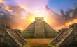 Leinwanddruck Bild - Mexico, Chichen Itza, Yucatn. Mayan pyramid of Kukulcan El Castillo at sunset