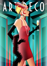 Girl In Evening Dress With A Glass Of Champagne. Retro Party Invitation Card. Handmade Drawing Vector Illustration. Art Deco Style.