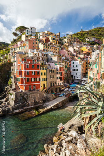 Fototapety, obrazy: Riomaggiore. It is the most southern village of the five Cinque Terre towns. Liguria, Italy.