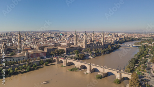 Cityscape of Zaragoza. Basilica of Our Lady of the Pillar. Aerial view
