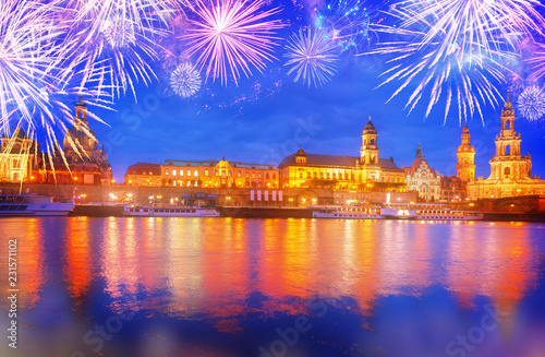 Poster Centraal Europa Embankment of Dresden and river Elbe at night with fireworks, Germany