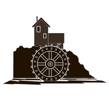 Graphic MonocromaticwWater Mill With Reversed Out Details & Wheel Dipped In Flowing River Side View.