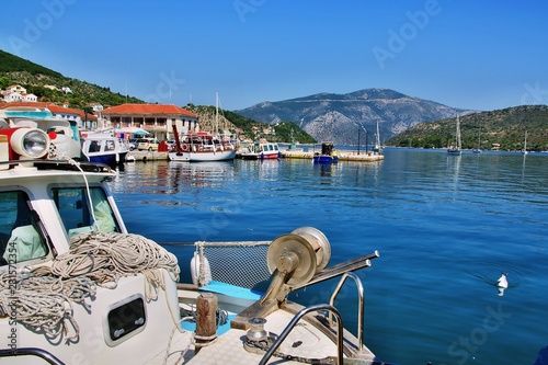 Spoed Foto op Canvas Stad aan het water Greece, the island of Ithaki -view from embankment in Vathi