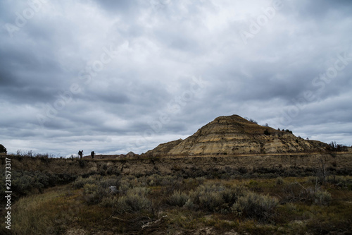 Staande foto Grijze traf. Rugged Landscapes of Theodore Roosevelt National Park in Autumn