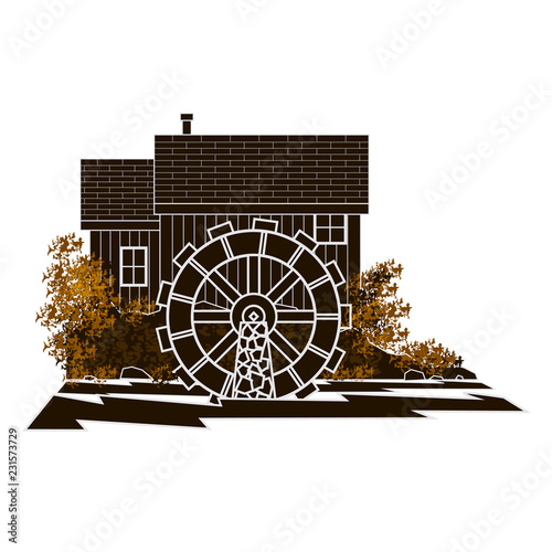 Graphic brown moncromatic image of a water mill  with a circular reversed out mill wheel on a rolling river side view Poster Mural XXL