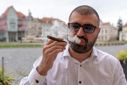 White male smoking cigars Wallpaper Mural