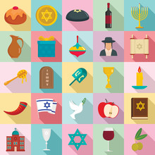 Happy Hanukkah Icon Set. Flat Set Of Happy Hanukkah Vector Icons For Web Design
