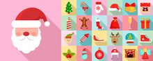 Christmas Icon Set. Flat Set Of Christmas Vector Icons For Web Design