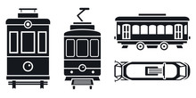 Tram Car Icon Set. Simple Set Of Tram Car Vector Icons For Web Design On White Background