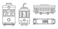 Tramway Icon Set. Outline Set Of Tramway Vector Icons For Web Design Isolated On White Background
