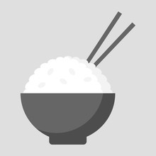 Simple, Flat Bowl Of Rice Icon. Chopsticks Sticking Out. Isolated On Light Grey