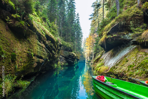Picturesque view of Hrensko national Park, situated in Bohemian Switzerland, Cze Canvas Print