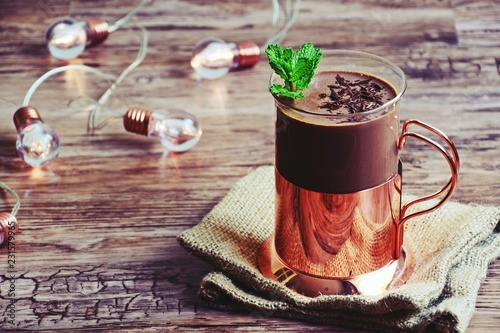 Fotografie, Obraz  Homemade hot chocolate with mint in a glass cup