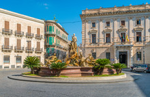 Diana Fountain In Siracusa Old Town (Ortigia). Sicily, Southern Italy.