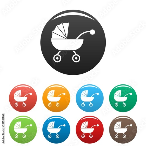 Photo  Baby carriage icons set 9 color vector isolated on white for any design